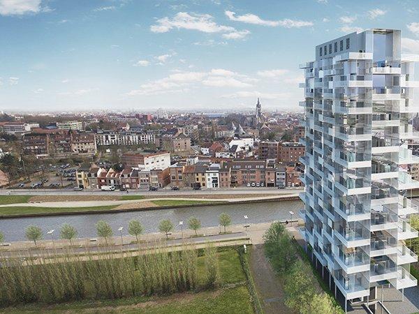 k tower, toren te Kortrijk te koop. nieuwbouw appartementen met zicht op kortrijk