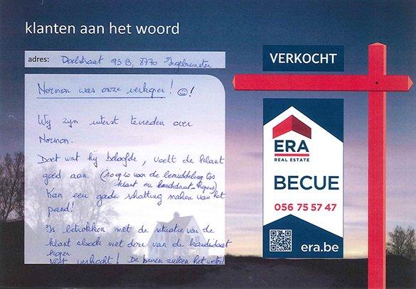 tevreden verkopers van een woning gelegen in Ingelmunster, referentie ERA Becue