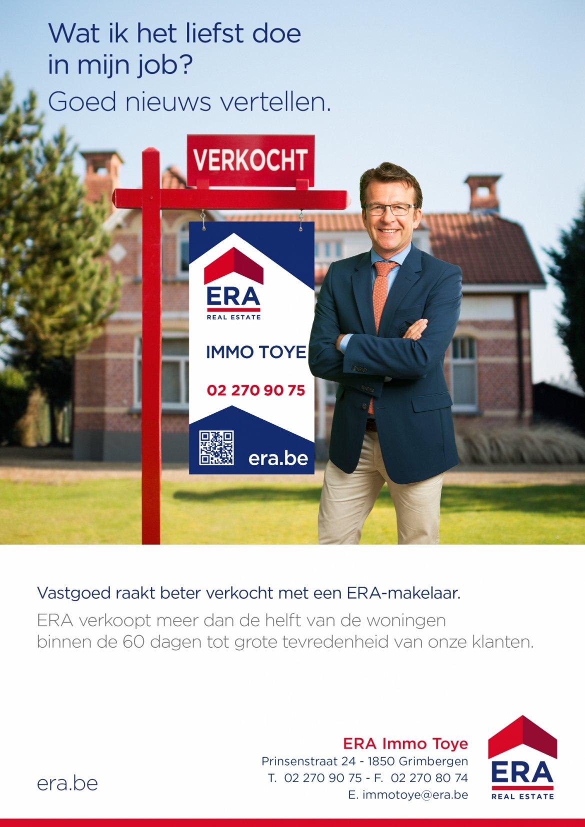 ERA Immo Toye - uw partner bij de verkoop van uw appartement, garage of huis in regio Grimbergen, Vilvoorde en Meise.