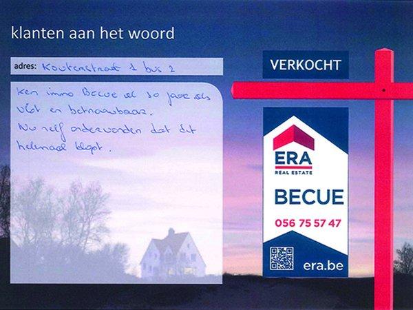 Verkocht Era Becue tevreden klanten Immo Zwevegem