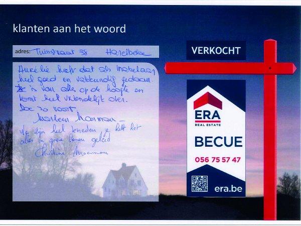 ERA Becue Verkocht immo kortrijk zwevegem tevreden klanten